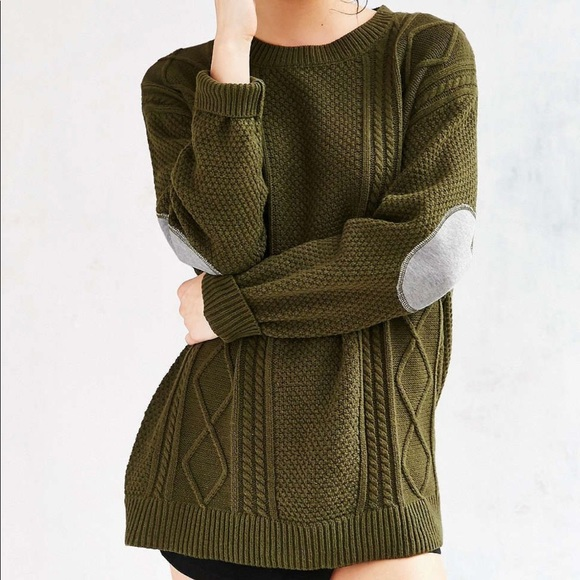 Urban Outfitters Sweaters - Urban Outfitters // BDG // Elbow Patch Cable Knit